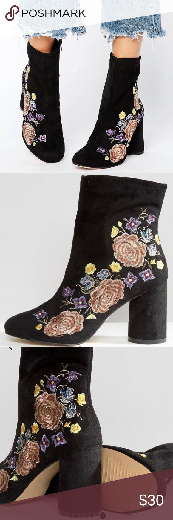 River Island embroidered ankle boots Super cute and trendy River Island ankle boots in black, round heel. Purchased new by me, never been worn. River Island Shoes Ankle Boots & Booties