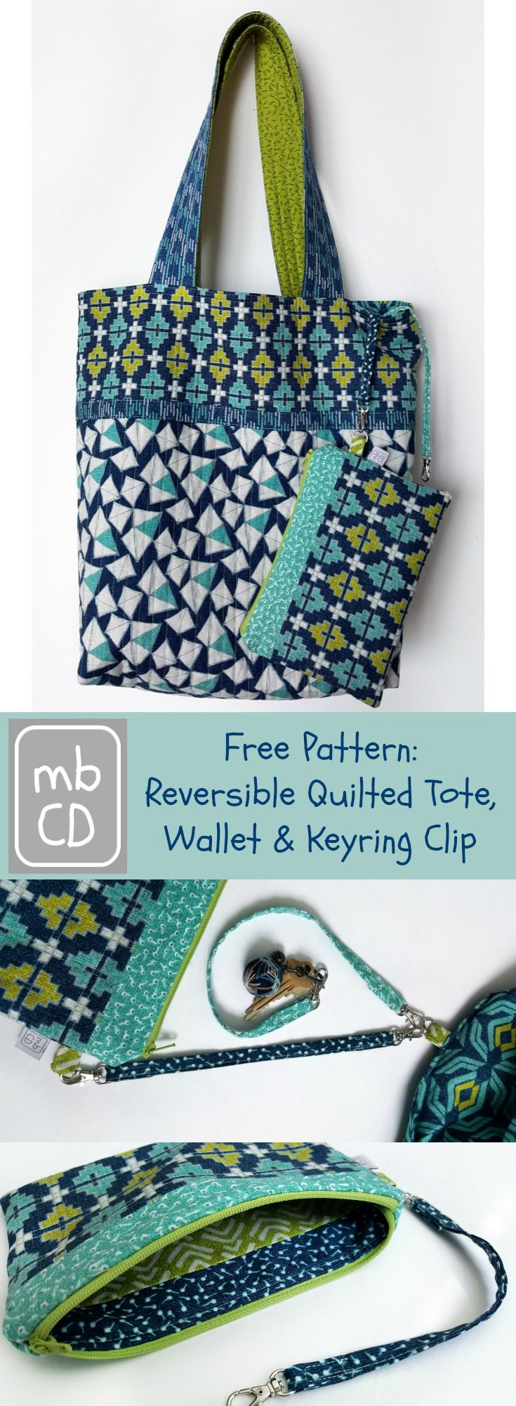 Free Pattern for a Reversible Quilted Tote with zippered pocket and detachable wallet and key ring clip - available now http://madebychrissied.blogspot.com/2016/07/Detachable-Wallet-Key-Ring-Tote-Bag-Free-Pattern.html