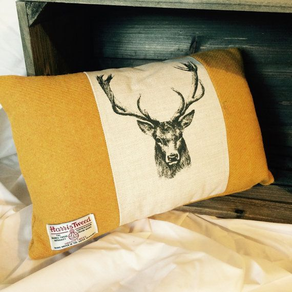 Mustard Harris tweed stag cushion by BonnieStitchesUK on Etsy