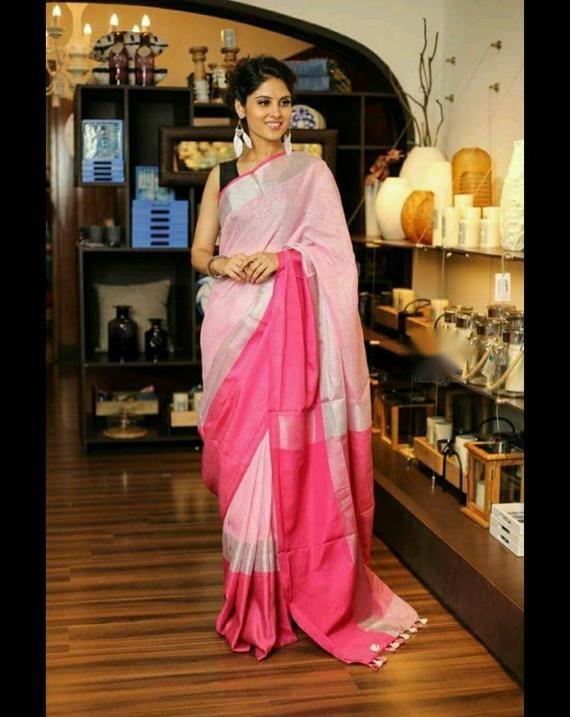 100 count dark pink linen saree with jamdani embroidery,pink organic linen saree with silver zari border,linen saree with blouse,Pink saree
