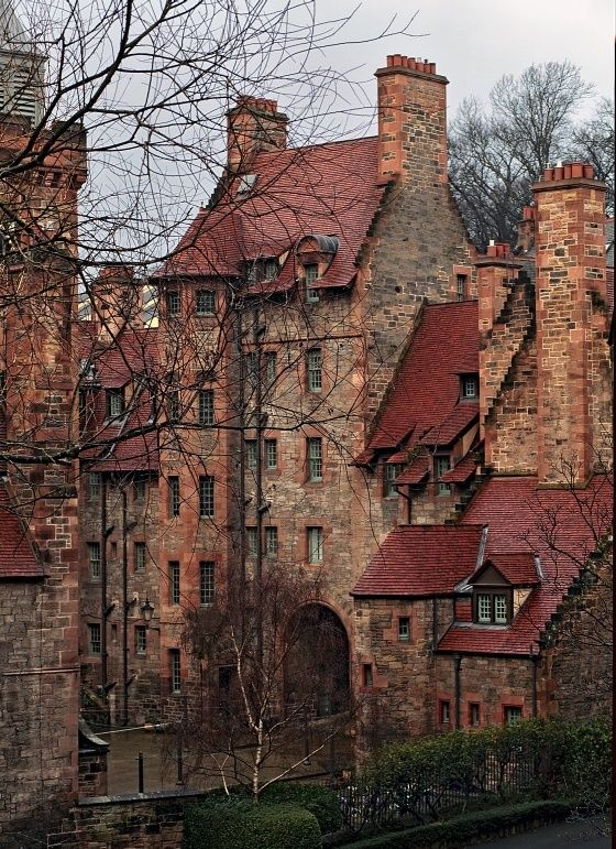 Medieval Architecture - Edinburgh, Scotland. Complex roof tops and stonework.