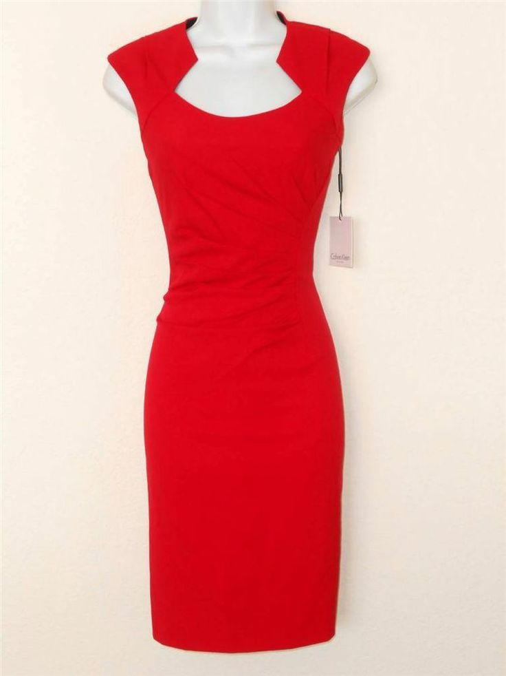 Calvin Klein Dress Size 2 Red Ruched Stretch Sheath Cocktail Career NWT