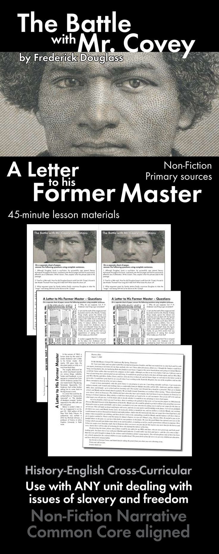 Use this non-fiction activity based on Frederick Douglass' slave experience to enhance your Civil War or novel studies.