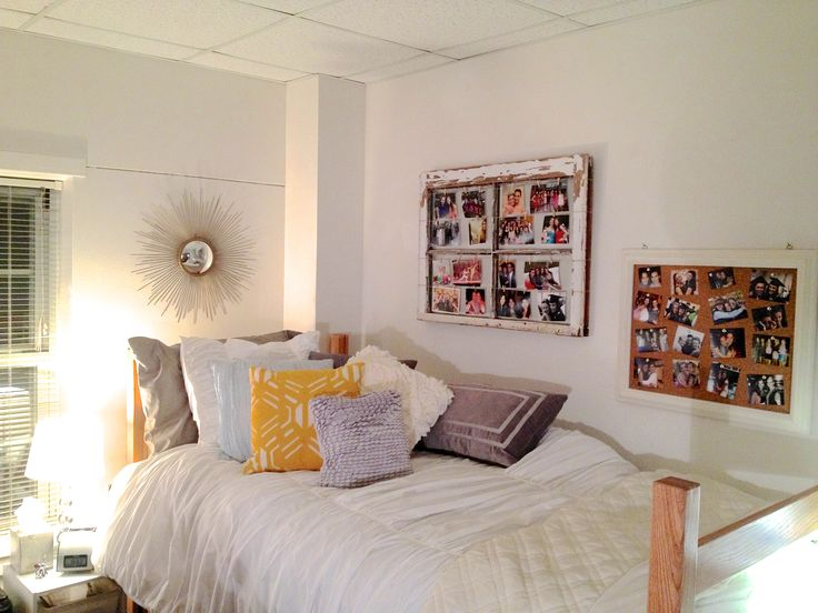 Love how she used the old windows for a picture board