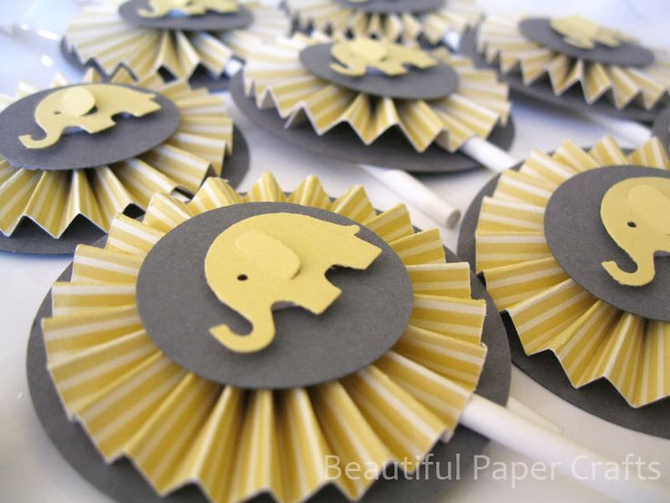 Gray and Yellow Baby Elephant Cupcake Toppers- Elephant Baby Shower Decorations..Set of 12. $14.00, via Etsy.
