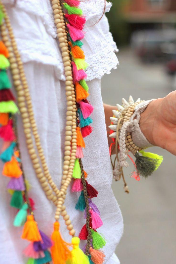 colorful tassel jewelry | tassel bracelet | tassel necklace