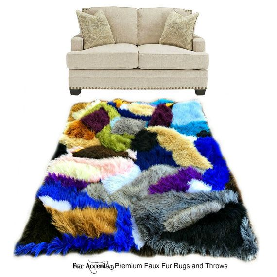 luxurious patchwork faux shag area rug stained glass pattern throw rug carpet blanket
