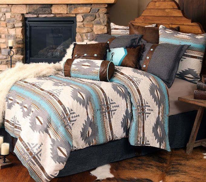 All Bedding Over $200 receives FREE shipping.  For a limited time 10% off selected Bedding Sets and any two additional bedding accessories!  Tempered with earthen brown and tempered gray, Badlands Sky Southwestern Bedding Sets represent the striking blue Dakota sky where it meets the extreme ruggedness of the awesome landscape!  Woven Badlands Sky fabric is 100% polyester with chenille blend threads. Solids are 100% polyester micro-fiber suede. Dry clean only. Allow 1-2 weeks for shipping.