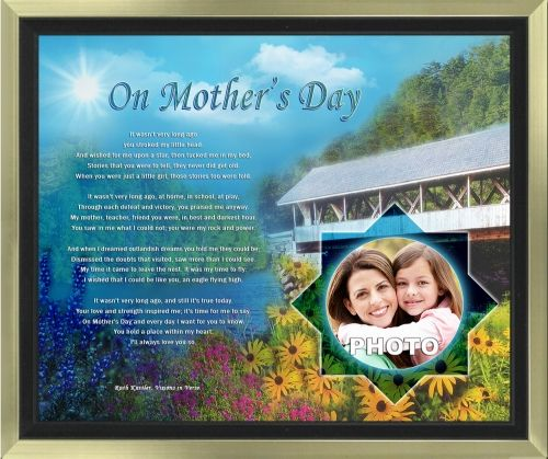 Give the extraordinary in personalized Mother's Day gifts with this heartfelt art poem that includes your photo. The 11 x 14 artwork is available in your choice of print only, canvas print, canvas framed, and silver and gold double-matted frames - all with free shipping in the US.