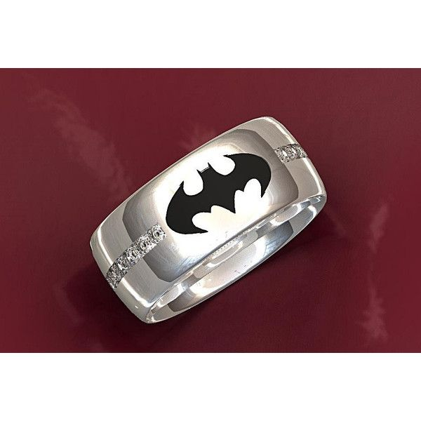 Batman Wedding Ring ($425) ❤ liked on Polyvore featuring jewelry, rings, wedding band rings, wedding rings jewelry, wedding rings, wide rings and wedding band jewelry