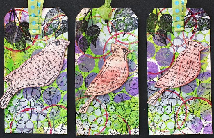 Art Tags - Birds on Purple and Green