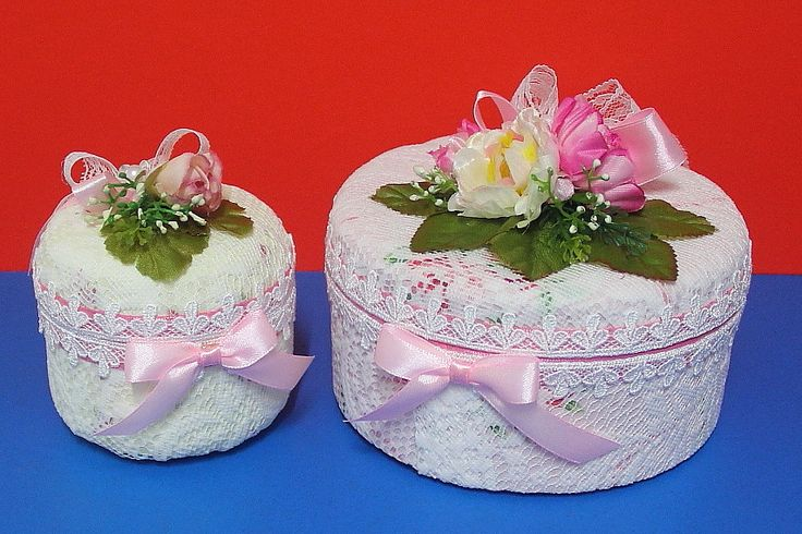 Turned a biscuit tin and a hand-cream container into pretty keepsake boxes.