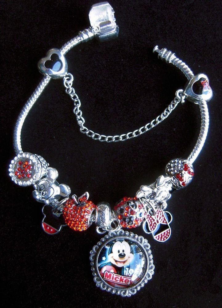Red #Mickey Mouse & Minnie #Disney #Charm #Bracelet 9 charms + Safety & 925 #Pandora #Handmade #pandora #bracelet