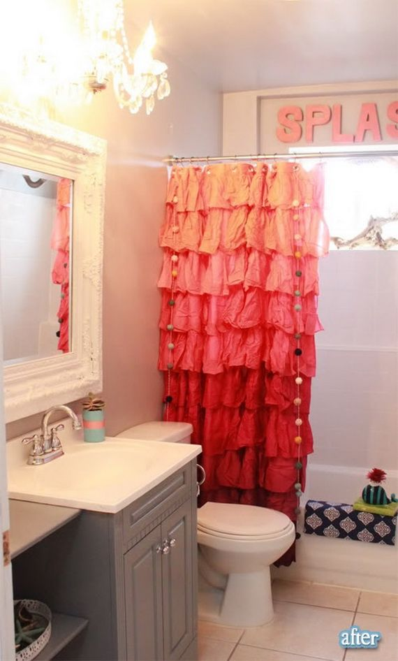 I like the lighting idea for the girl's bath and the curtain is cute too!