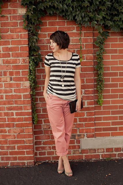 b/w striped shirt with lace detail on the back & pink pants