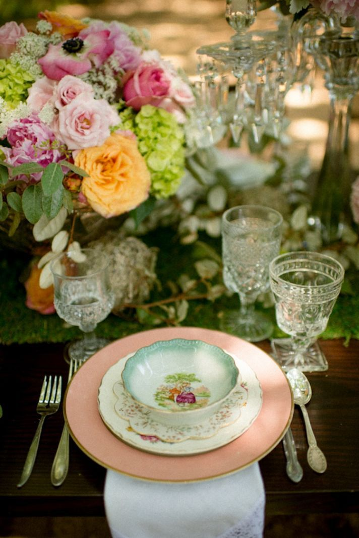 Vintage Inspired Tablescape - Wedding Table Setting - Soft Blush Pink and Green - Vintage Plates - Rustic Woodland Meets Vintage Elegance
