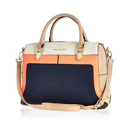 Navy colour block bowler bag - shoulder bags - bags / purses - women