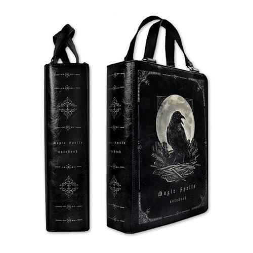 Magic Spells raaf print boek tas zwart - Gothic Fantasy - Restyle
