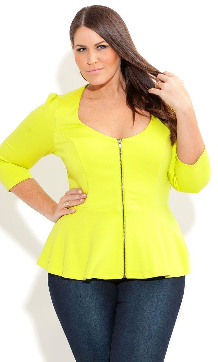 City Chic - ZIP PEPLUM FRILL JACKET - Women's plus size fashion