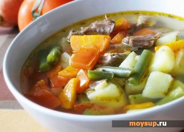 Суп с мясом и зеленой фасолью