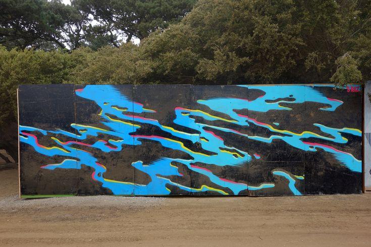 S Raz street art murals at Outside Lands Festival in San Francisco Golden Gate Park