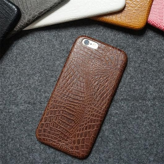 Brown Leather Crocodile Snake Case for iPhone 6 and Up