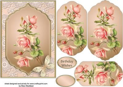 """Vintage Roses Fancy Pyramid Card on Craftsuprint designed by Mary MacBean - 5"""" x 7"""" card front with a fancy-shaped pyramid featuring a spray of vintage peach roses. There is a Birthday Wishes sentiment or a blank tag for your own message.  - Now available for download!"""