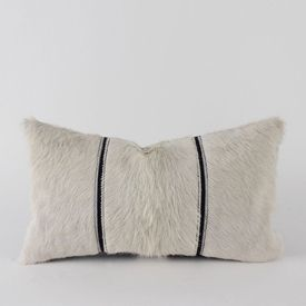 White Cowhide & Leather Pillow