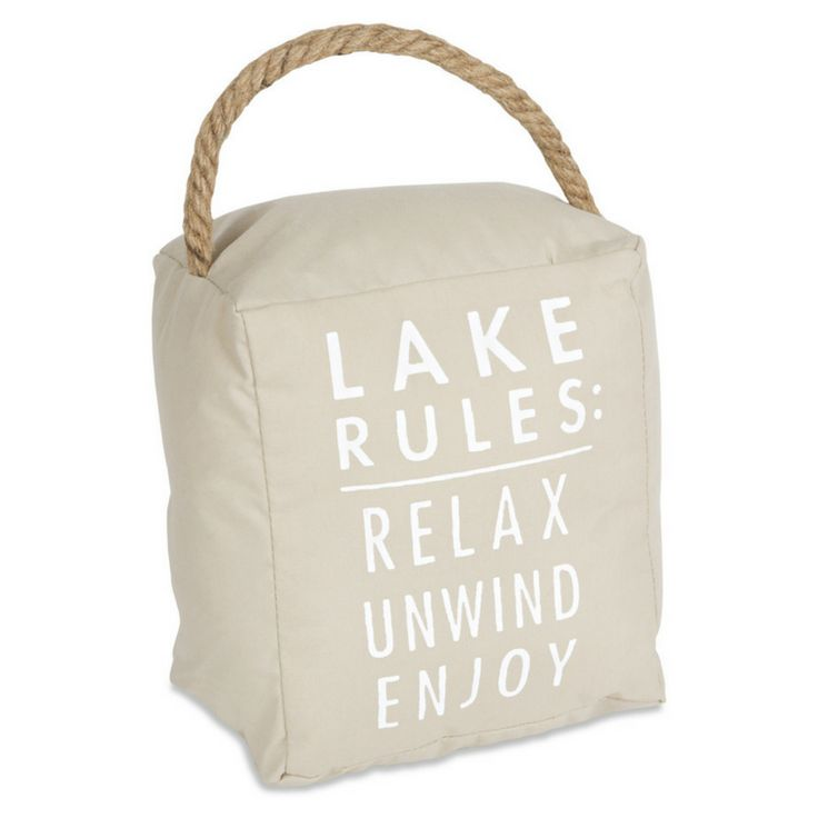 Our new Lake Rules canvas door stopper combines beauty & functionality!
