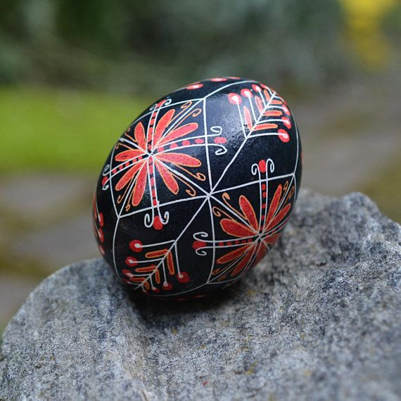 Hristos Voskrese Ukrainian Easter egg decorated with hot