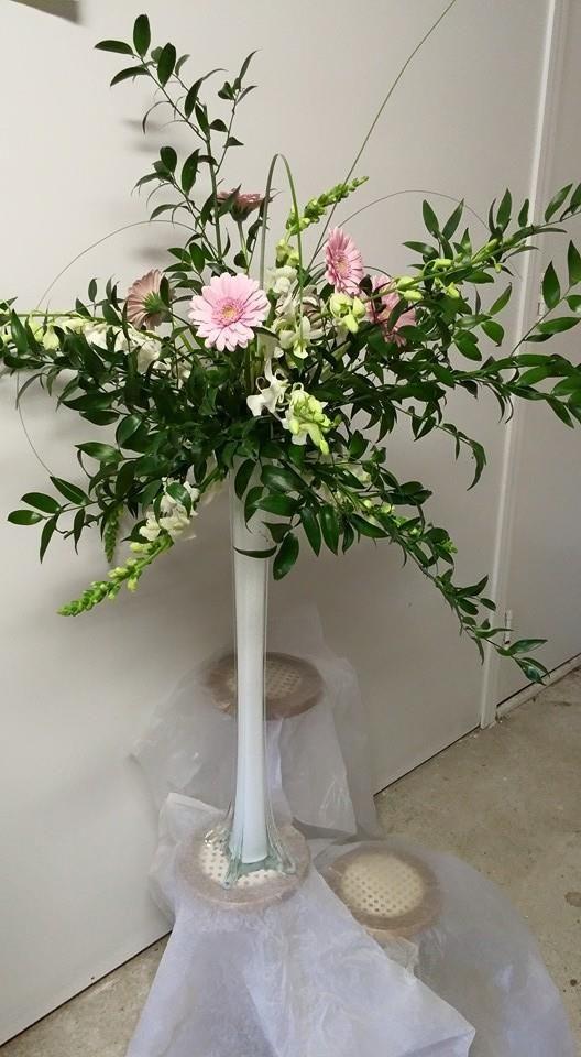 Eiffel tower vase centerpiece wedding flowers by