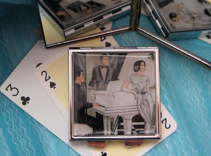 Piano Player and Chanteuse, Art Deco Style - Upcycled Playing Card Compact Mirror by karenarts on Etsy