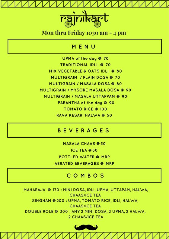 Mon thru Friday 1030 am - 4 pm MENU UPMA of the day @ 70 TRADITIONA...