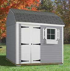 The Bar Harbor Shed - Includes delivery and installation. Shown with dark gray vinyl siding and black shingles. Shed sizes starting at 8' x 8'. www.millstores.com
