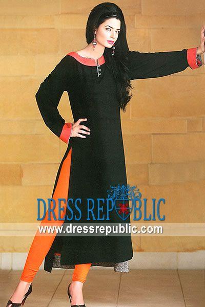 Black Sularia, Product code: DR8833, by www.dressrepublic.com - Keywords: Casual Shalwar Kameez Stores on Facebook, Casual Dress Designers on Facebook