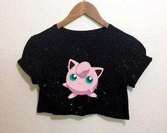 Jigglypuff Pokemon Inspired Black Crop Top T Shirt Festival Emo Hipster Kawaii