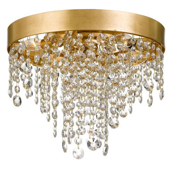 Cascading Crystals Ceiling Light Gold Ceiling Light Crystal Ceiling Light Ceiling Lights Crystal flush mount chandelier