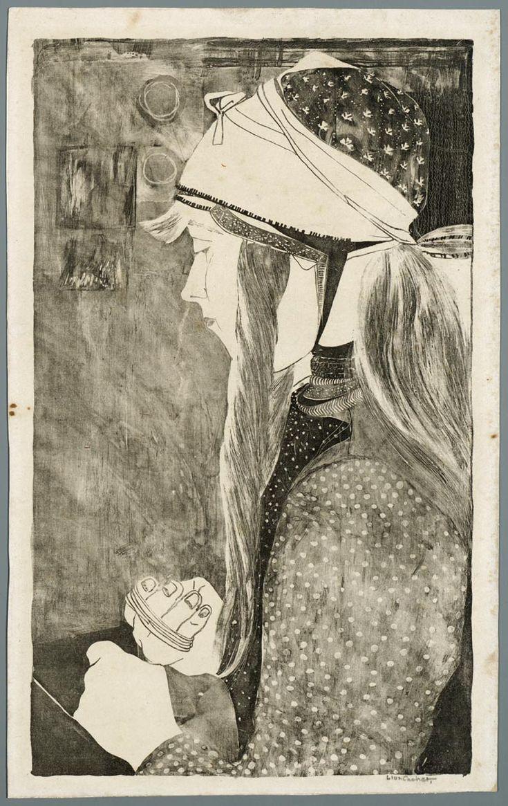 Marker vrouw 1889-1945 maker: Cachet, Carel Adolph Lion (1864-1945) #NoordHolland #Marken