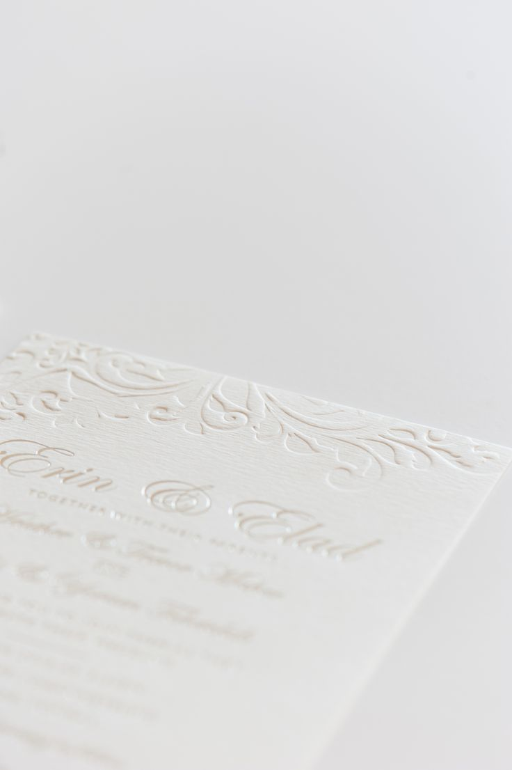 Debossed wedding invitation card with silver foiling www.creativeheroes.co.za