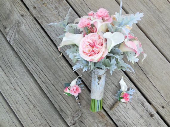 Rustic pink calla lily bouquet with Real Touch calla lilies, pink accents, birch bark bouquet wrap with vintage key charm by BuckLakeBridal