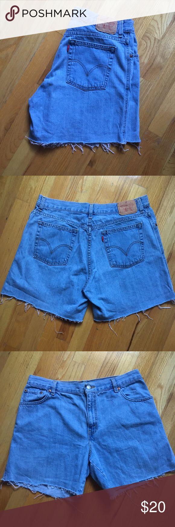 Levi 550s Cutoff High Waisted Shorts DIY cutoff shorts from Levi 550s. Medium blue denim wash. Staple for your wardrobe. Size 16. Shorts Jean Shorts
