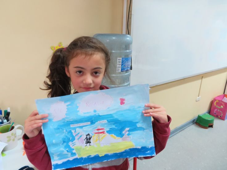 Christopher Columbus Painting- Students painted boats and then glued on little Christopher Columbus cut-outs.