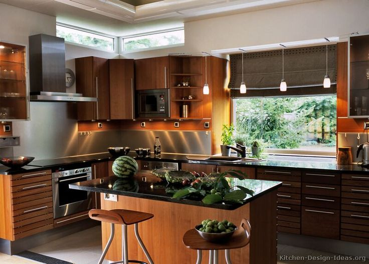 Modern Medium Wood Kitchen Cabinets (kitchen Design Ideas.stfi.re) | Kitchen  Island Ideas | Pinterest | Wood Kitchen Cabinets, High Windows And Kitchens Part 62