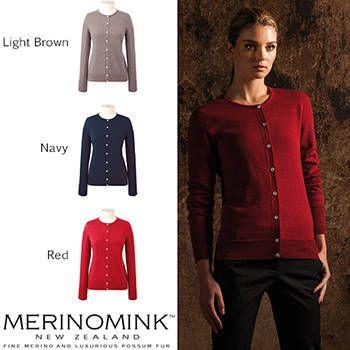 New Zealand Merinomink Womens Merino Wool Classic Cardigan