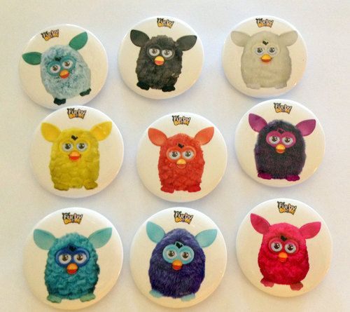 "Furby Monster Themed Party Badges Favors 1"""" (Set of 9)"