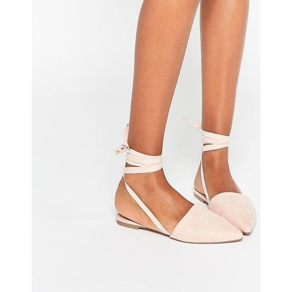 ASOS LIFE OF THE PARTY Lace Up Pointed Ballet Flats ($16) ❤ liked on Polyvore featuring shoes, flats, beige, pointed ballet flats, beige ballet flats, pointed-toe flats, pointed toe shoes and lace-up ballet flats