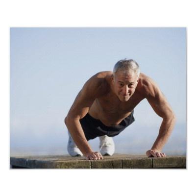Option 3:    USA, California, Berkeley, Senior man exercising Print