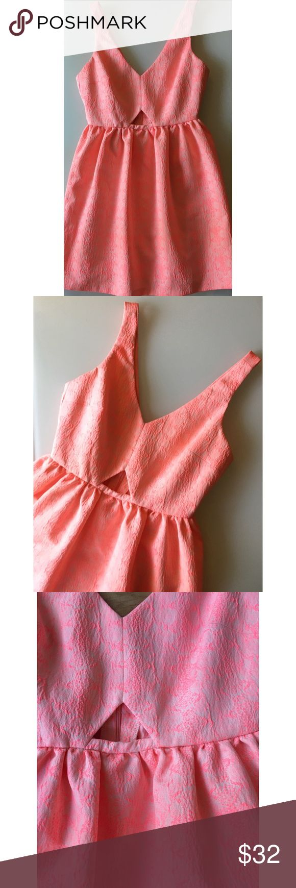 Zara Trafaluc pink coral cut out dress sz small Zara Trafaluc pink/ coral and white, textured,  cut out dress sz small. Worn twice. Great condition. Zara Dresses
