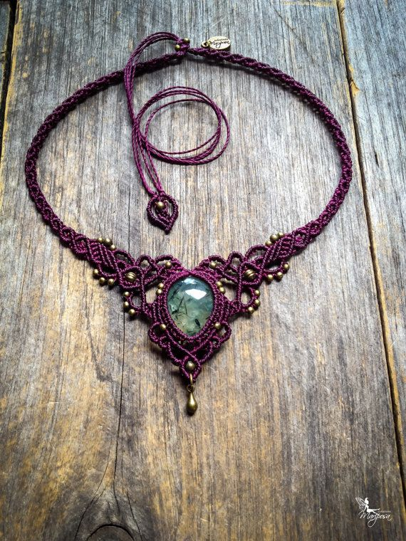 Macrame necklace elven tiara with quality Prehnite with needle epidot Will be made to order with your choice of oval stone and color. Please see