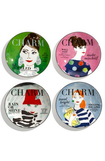 """kate spade new york 'make headlines' tidbit plates  (To hang on my """"plate gallery"""" wall with the others I have)"""